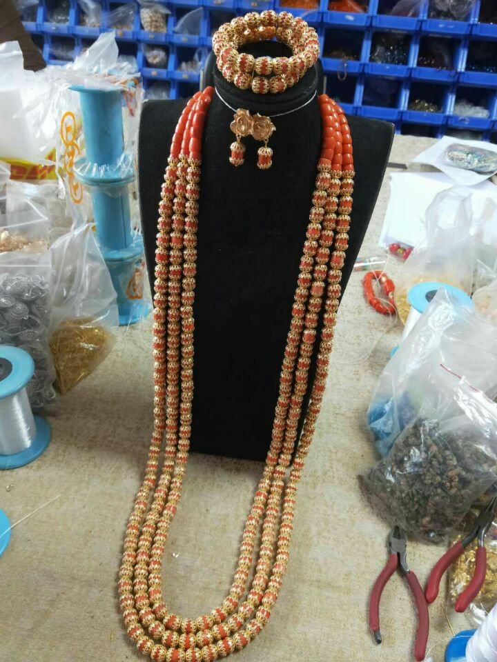 HTB1dQ caznuK1RkSmFPq6AuzFXaL Luxury 3 Layers Red Coral Nigerian Wedding African Beads Jewelry Set 45 inches Gold and Coral Long Statement Necklace Set CNR853
