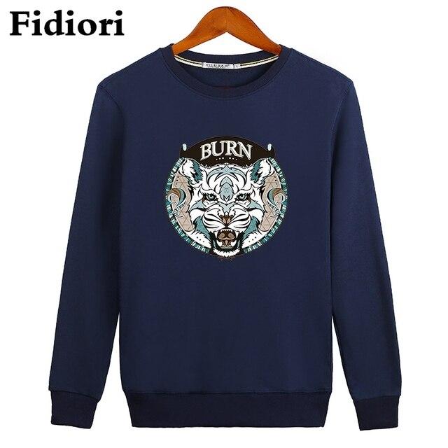 Fidiori новые мужские пуловеры тигр толстовки толстовка хлопок комфортно Моды печати Высокого качества кофты большой размер.