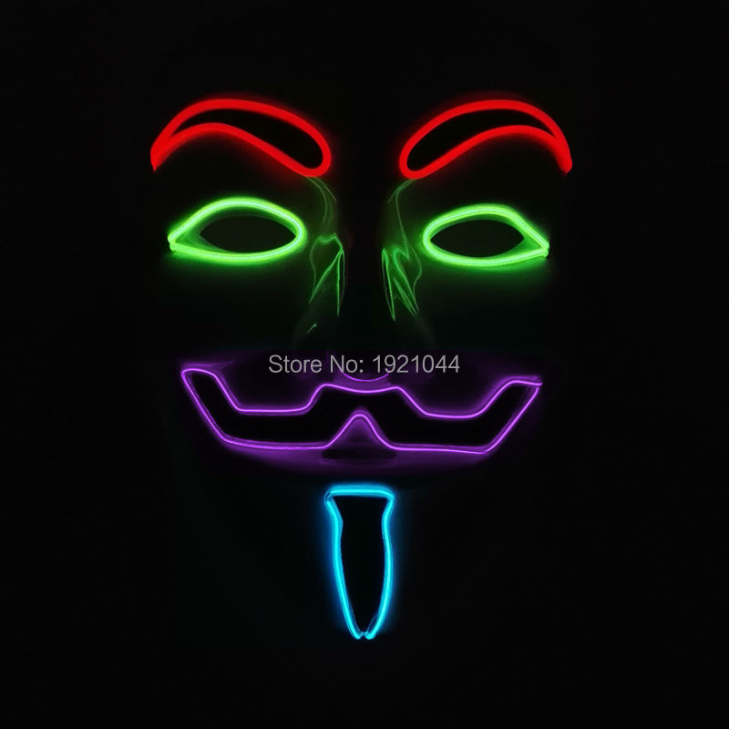 2017 New Hot Sale Guy Flash El Wire Led Glowing Dj Mask Cosplay Mask V for Vendetta Mask for 4 Color by 3V Steady On Driver
