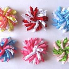 2 pcs girl corker tassel Ponytail holders curly ribbons flower hair bows clip ties korker hair bobbles elastic accessory PD007