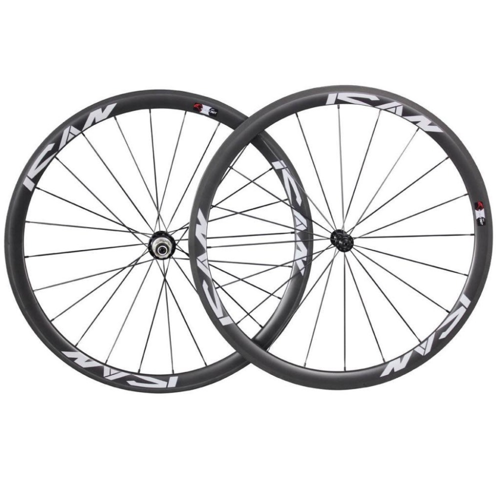 Carbon 38mm tubular Road Bike Wheels R13 Hub with CN Spokes 20/24H Carbon <font><b>Rims</b></font> UD Matte ICAN Logo image