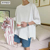 Camisetas para Hombre de gran tamaño de moda 2019 de Color sólido Casual para hombres de cuello redondo coreano hombres Camiseta de manga corta Camisetas Hombre 4 colores