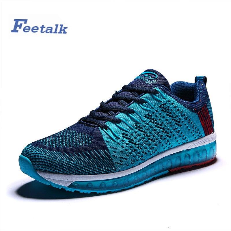 Feetalk Mens Entrenadores Zapatos Negro/Azul Zapatos de Deporte de Los Hombres L