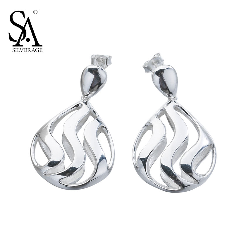 SA SILVERAGE Real 925 Sterling Silver Vintage Openwork Earrings For Women Wedding Party Gift Fine Jewelry pair of delicate openwork rhombus pendant earrings for women