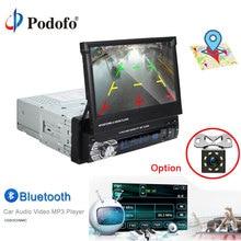 """Podofo 1 Din Car Radio 7 """"di Tocco di HD Car Stereo GPS Bluetooth FM Radio 1din MP5 Lettore Audio Stereo autoradio AUX-IN della Macchina Fotografica di Backup"""