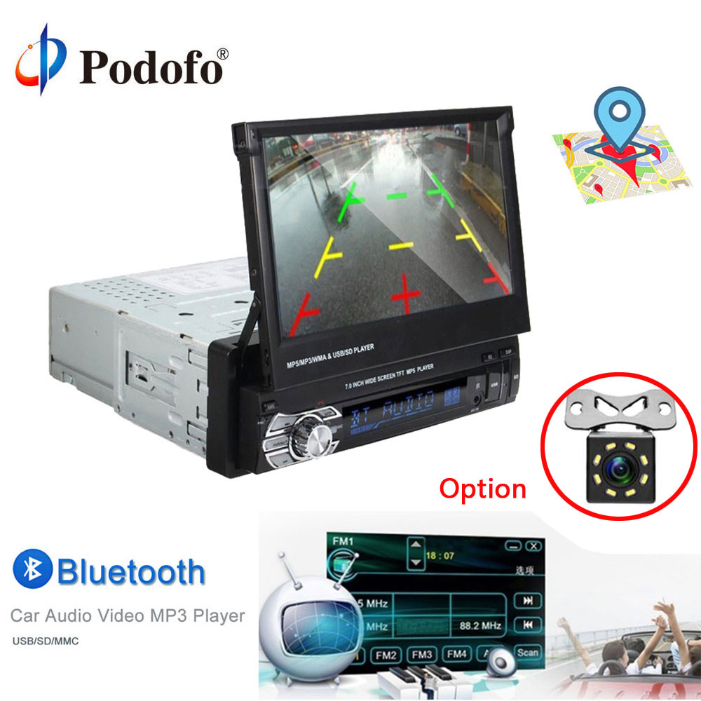 Podofo 1 Din Car Radio 7 HD Touch Car Stereo GPS Bluetooth FM Radio 1din MP5 Audio Stereo Player Autoradio AUX IN Backup Camera