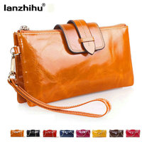 100 Real Leather Female Wallet Phone Coin Purse Large Capacity Clutch Women Wallets For Credit Cards
