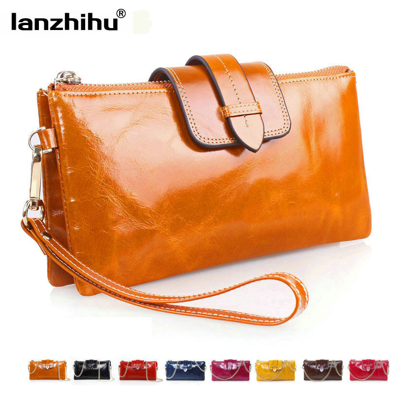 100% Cowhide Women Wallets Genuine Leather Shoulder Chain Clutch Bag Luxury Vintage Money Phone Wallet Female Coin Purse Cards women genuine leather character embossed day clutches wristlet long wallets chains hand bag female shoulder clutch crossbody bag