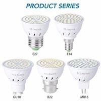 LED Bulb GU10 E27 B22 Lamp 220V MR16 Spotlight 48 60 80LED Warm White Cold White Lights for Home Decoration Ampoule