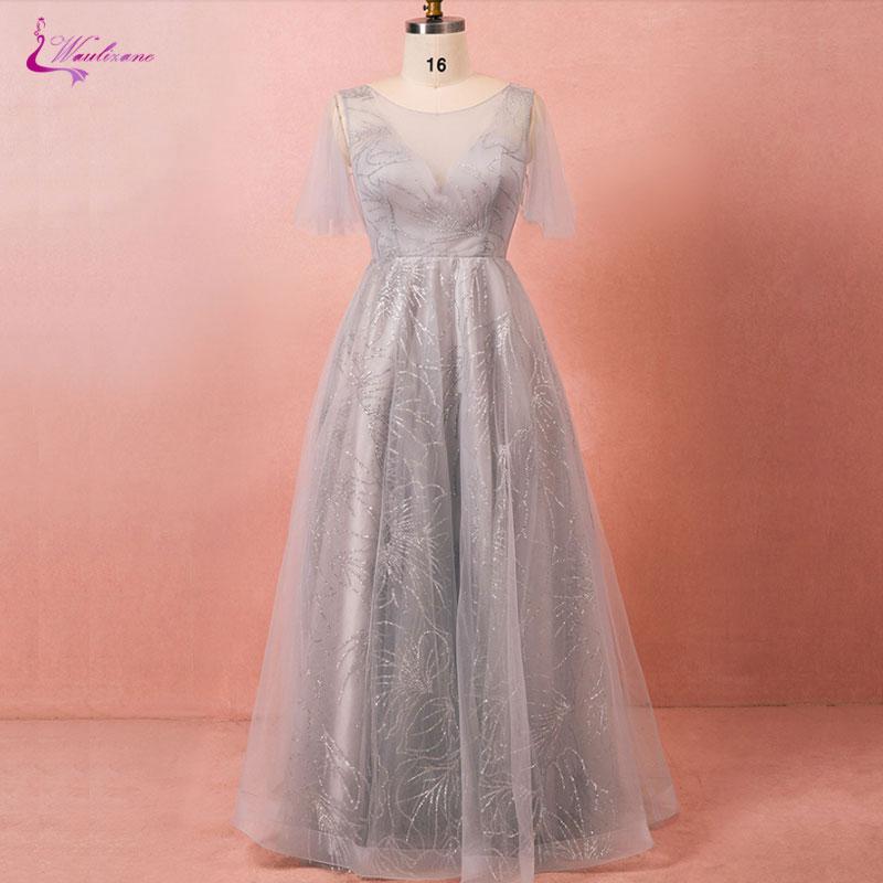 Waulizane Elegant Tulle Scoop Evening Dresses Plus Size Lace Up