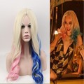 New Suicide Squad Women Quinzel Harley Cosplay Wigs Harley Quinn Wig Mixed Color Synthetic Hair Peruca Women Cosplay Curly Wig