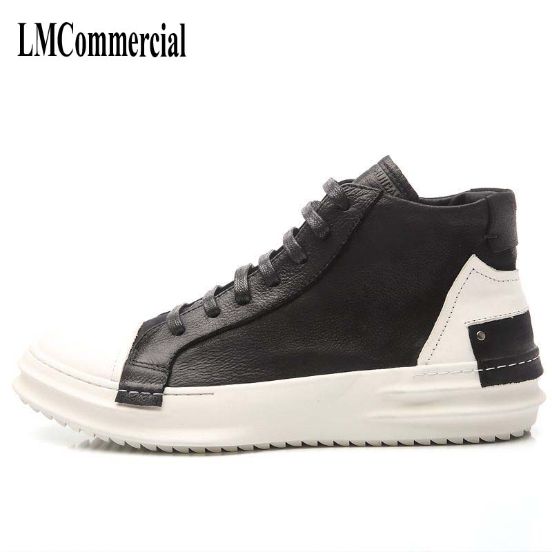 men boots lace trend of Korean men's leather breathable shoes British fashion shoes zipper hip-hop boots casual shoes 2017 new autumn winter british retro men shoes zipper leather breathable sneaker fashion boots men casual shoes handmade