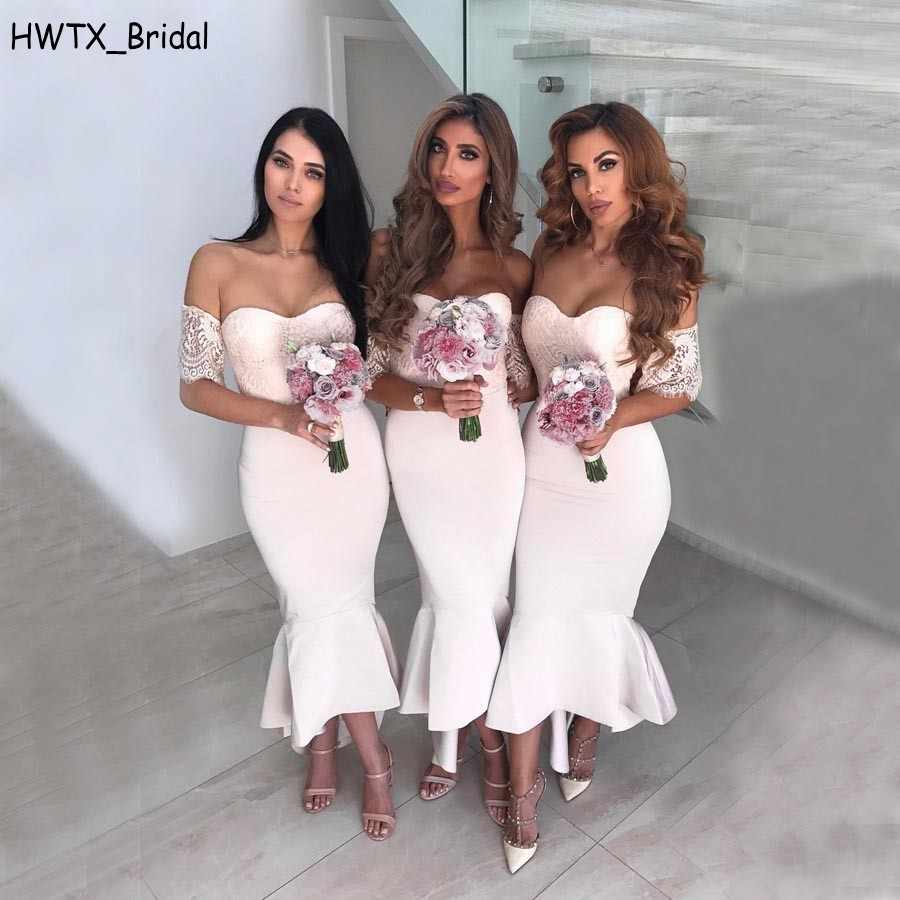 a512d0d53bd47 Detail Feedback Questions about Light Pink Sexy Mermaid Country Bridesmaid  Dresses Cheap 2018 Plus Size Off Shoulder Vintage Lace High Low Party Prom  Gowns ...