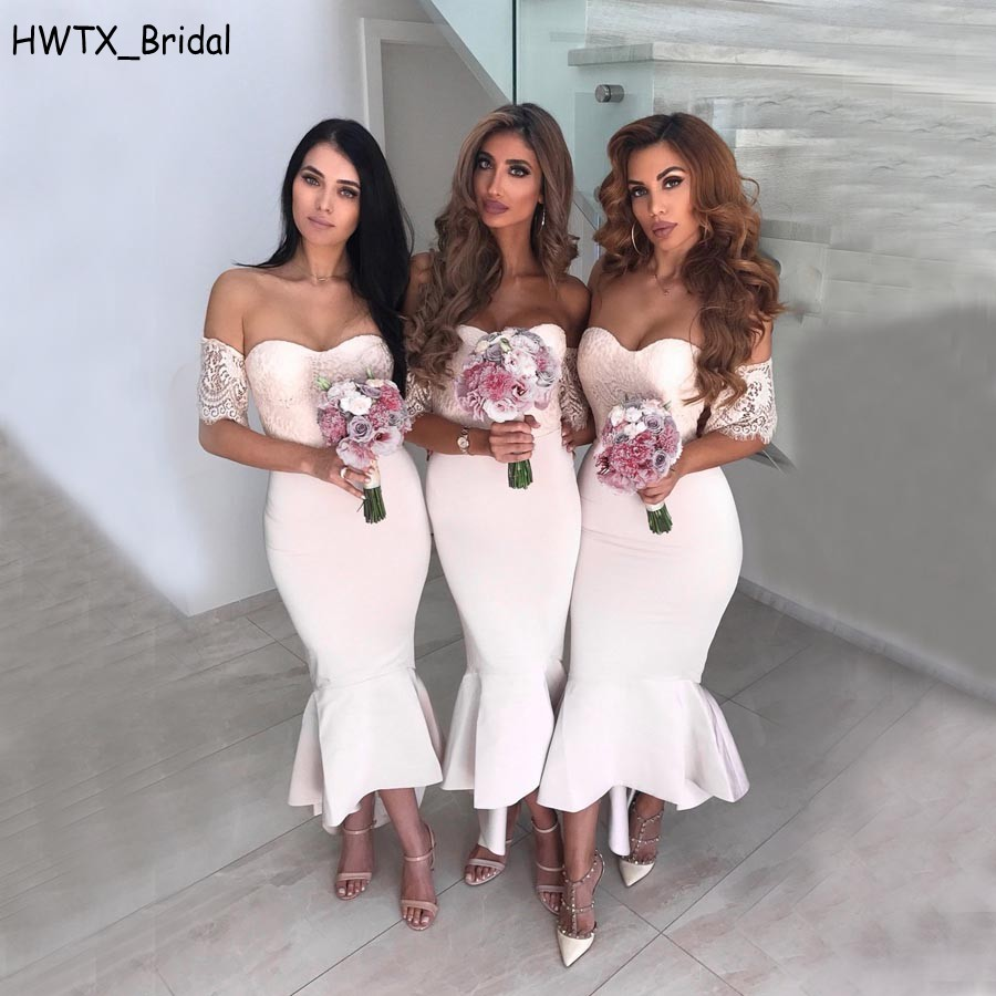 Light Pink Sexy Mermaid Country   Bridesmaid     Dresses   Cheap 2018 Plus Size Off Shoulder Vintage Lace High Low Party Prom Gowns