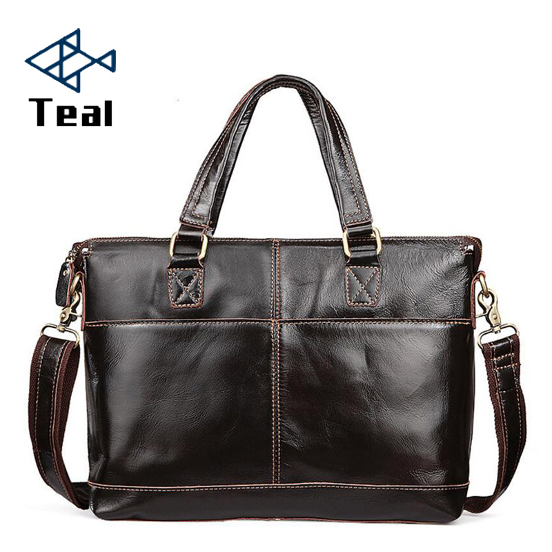 Men s Briefcase Genuine Leather Business Vintage High Quality leather Briefcase Brand Design bag Sac a