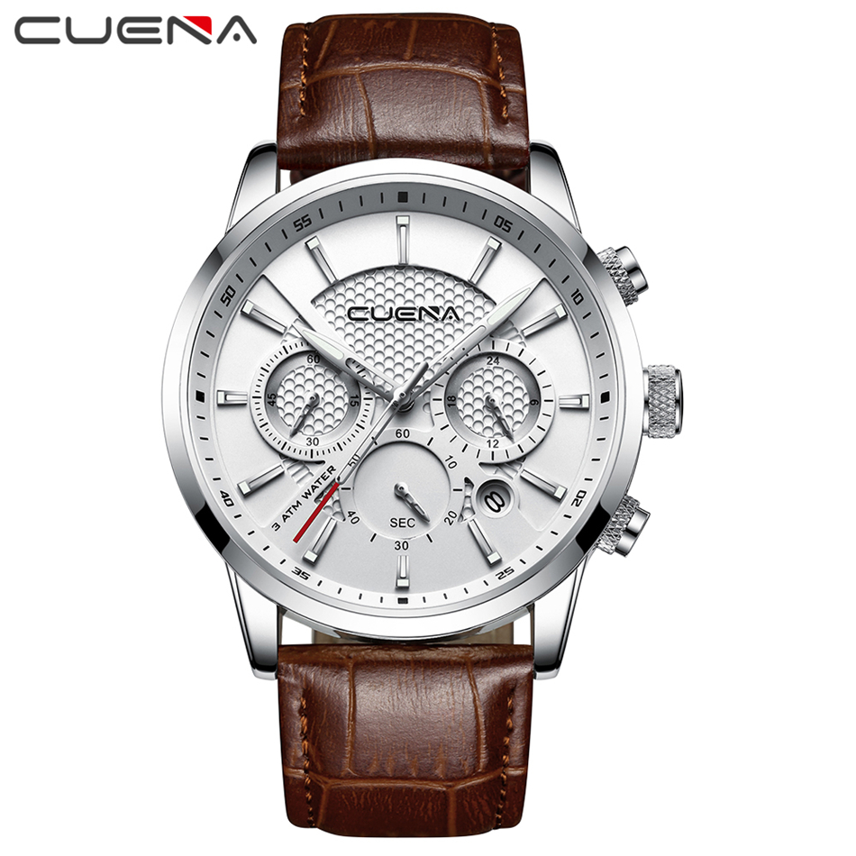 2019 CUENA Mode Männer Uhr Quarz Chronograph Uhr 3 Sub-dials 6 Hände Multifunktions Wasserdicht Casual Sport Armbanduhren