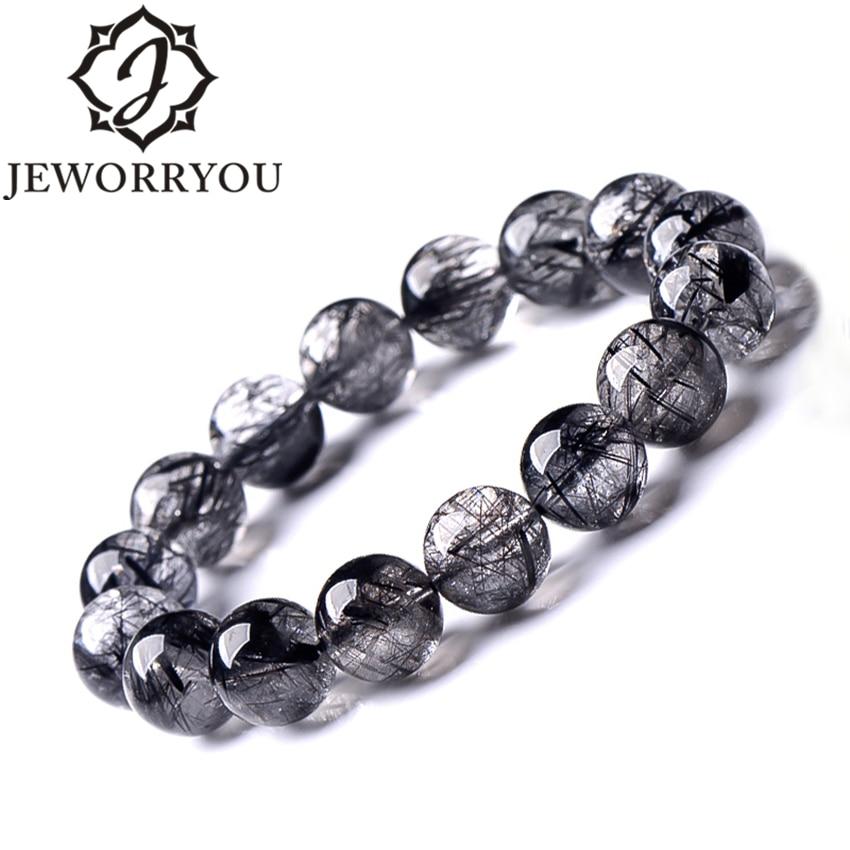 AAA+ Black Rutilated Quartz Bracelets For Women 8-12mm Natural Stone Bracelet Men Hand Bracelet Round BeadsAAA+ Black Rutilated Quartz Bracelets For Women 8-12mm Natural Stone Bracelet Men Hand Bracelet Round Beads