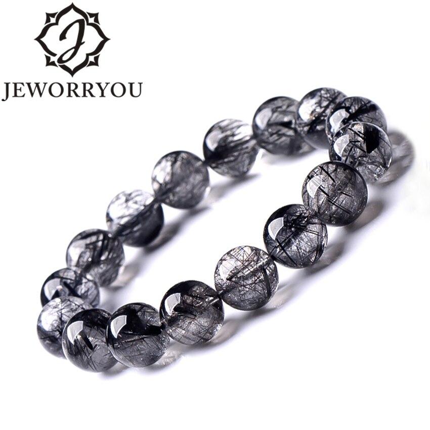 Aaa + Schwarz Rutilquarz Armbänder Für Frauen 8-12mm Natürliche Stein Armband Männer Hand Armband Runde Perlen Bequemes GefüHl