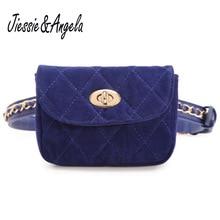 Jiessie & Angela New Designer Women Belt Bag Velvet Mini Waist Bag Crossbody Plaid Small Women Travel Bags Waist Pack Bolsas