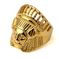 Men S Jewelry Steel Carving Indian Jewelry Rings Ancient Maya Tribal Chief Head Punk Vintage Round