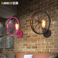 Huang's wife vintage wall loft personalized Restaurant Bar American country iron lantern with light industrial wheels