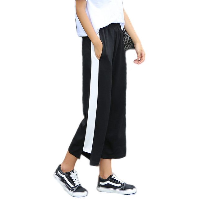 09f1fd8ef9d23 White side stripe black stretch waist wide leg crop pants for women ladies  casual sporty loose elastic capri palazzo trousers