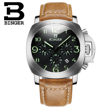 2017 New Arrival Quartz Watch White Gold Stainless Steel Wristwatches Fashion Brand Binger Watches With Brown Leather Band