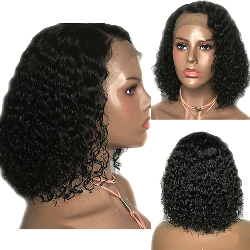 Human Hair Lace Wigs Lovely 13x6 Deep Part Curly Bob Lace Front Human Hair Wigs For Black Women Preplucked Brazilian Remy Short Bob Pixie Cut Wig Full End Hair Extensions & Wigs