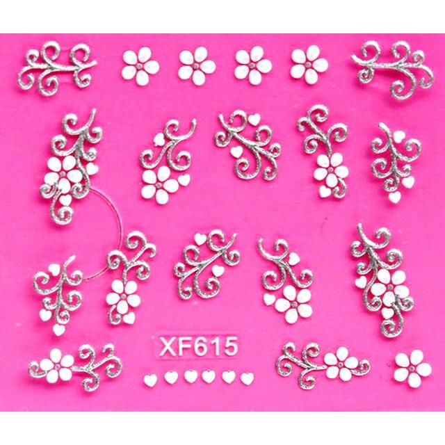 Dolce 3D bianco di disegno del fiore di Trasferimento Nails Art Sticker decalcomanie della signora delle donne di strumenti per manicure Nail Wraps Decalcomanie commercio all'ingrosso XF615