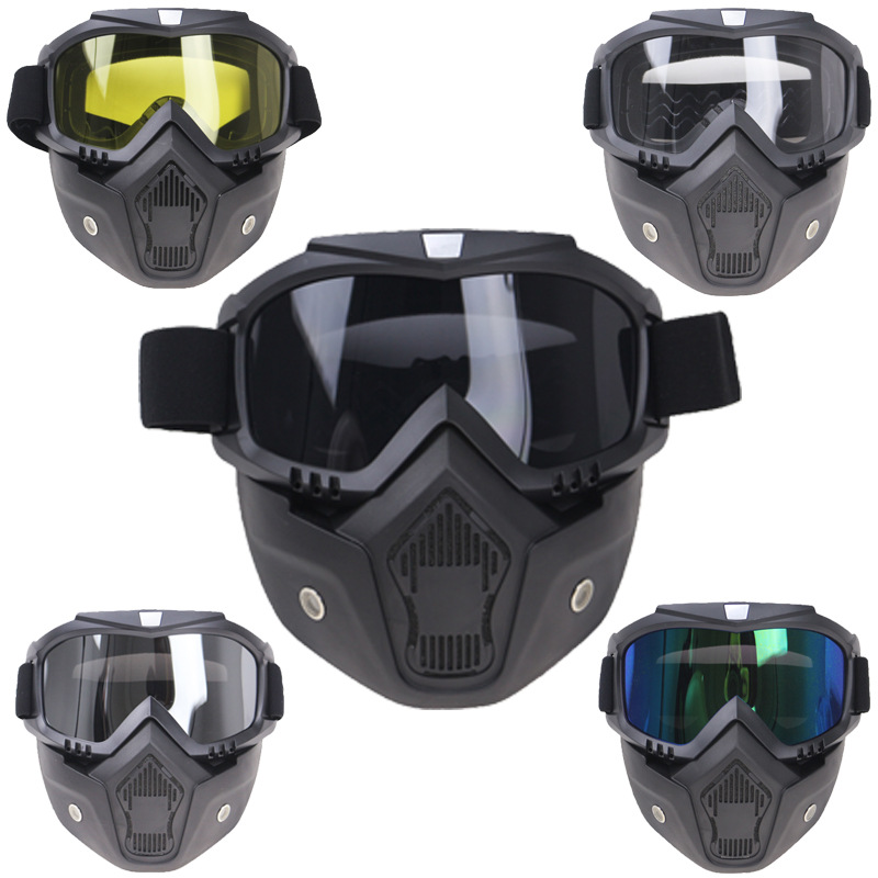 Modular Mask Flexible Goggles Glasses Mouth Filter Anti Dust Sand Wind For Open Face Motorcycle Half Helmet Or Vintage Helmets