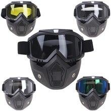 Máscara modular óculos de proteção flexíveis boca filtro anti poeira areia vento para rosto aberto motocicleta meio capacete ou capacetes do vintage