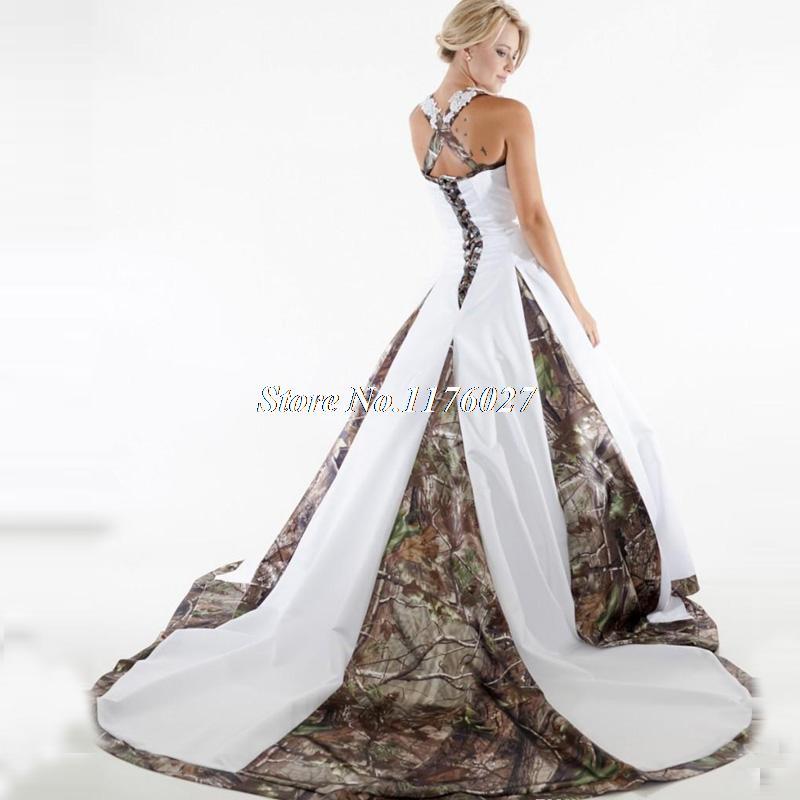 394e35ae7f66c Plus Size Camo Wedding Dress Lace White Camouflage Ball Gown Bridal Dress  Chapel Train Vestido De Noiva Robe De Mariage C59-in Wedding Dresses from  Weddings ...