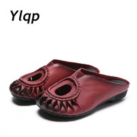 2017 Hollow New Summer Flip Flops Genuine Leather Sandals Slippers Cowhide Flats Women Sandal Shoes Fashion
