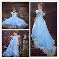 La más nueva moda verano Cinderella muchacha de la princesa vestido vestido del bebé Cosplay a estrenar vestido del bebé del algodón de los niños del partido