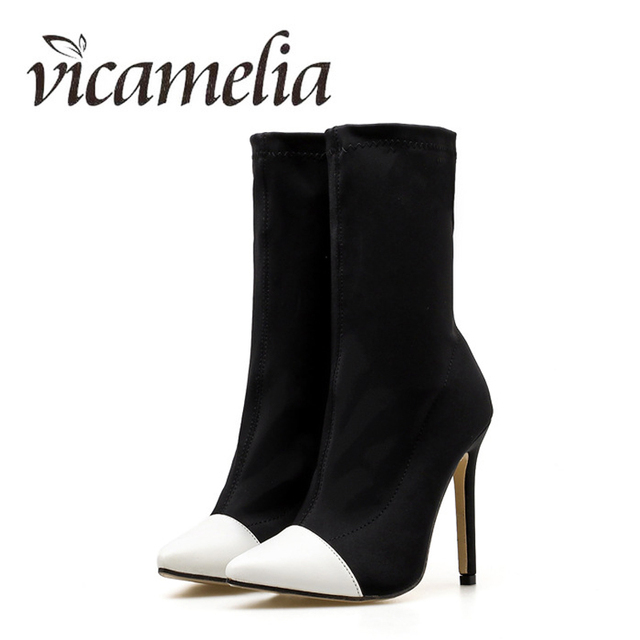 Vicamelia Woman Stretch Fabric Thin Heel Boots Mid-Calf Boots Fashion Slip  On Ladies Pointed Toe Boots High Heel 11.5 cm153 21b30e6044de