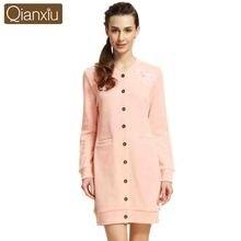 Qianxiu Lounge Shirt- Nightdress Female Cotton Sexy Sleepshirts Homewear Women Casual Long Sleeve Nightgowns camisones 1531