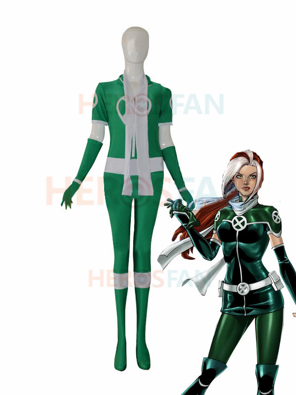 Style X-men Rogue New Green Custom Superhero Costume Cosplay Halloween party Suit free shipping
