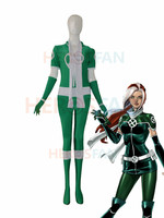 Style X men Rogue New Green Custom Superhero Costume Cosplay Halloween party Suit free shipping