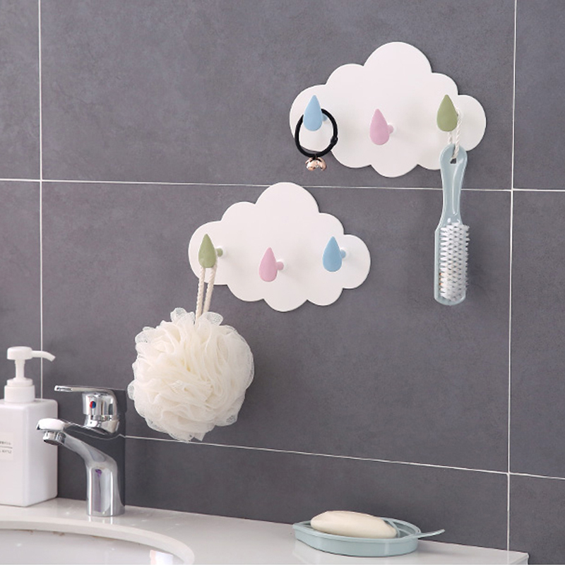 050 Creative Organizer Cloud Seamless Three links Hook Kitchen Nail free Hooks bathroom Cloud Plastic storage Hook 23 14 5cm in Hooks Rails from Home Garden