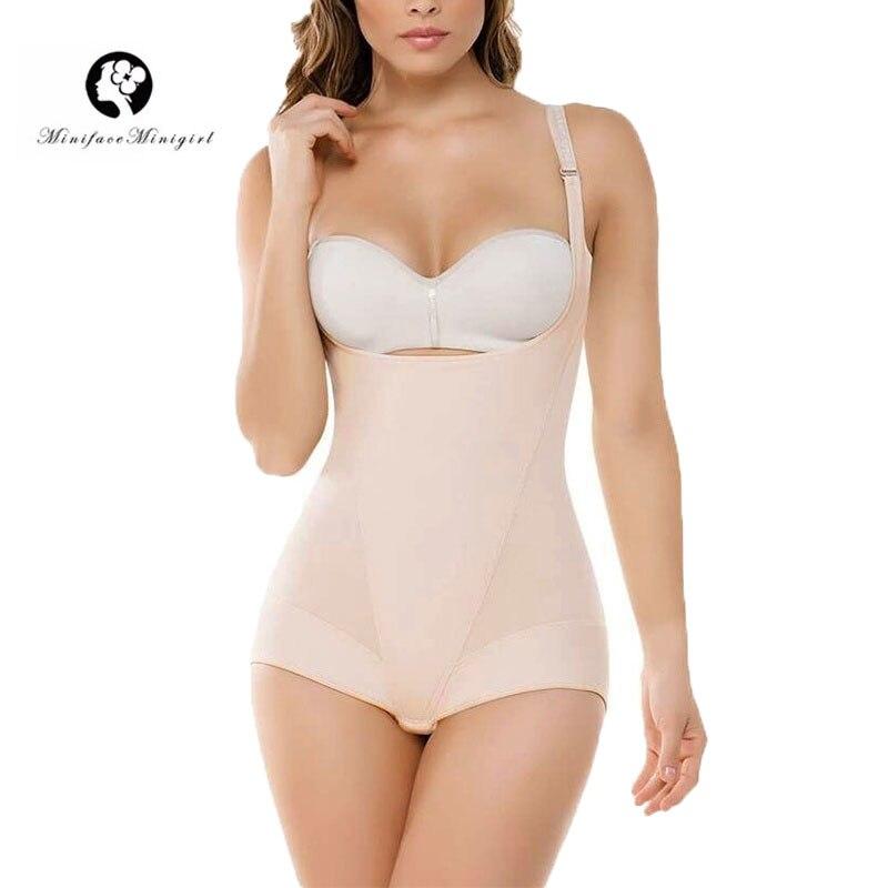 A Forma das mulheres Fajas Colombianas Firm Tummy Controle Shapewear Pós-parto Cinturão Shapers Do Corpo Busto Aberto Breve Bodysuit Cintura Sl