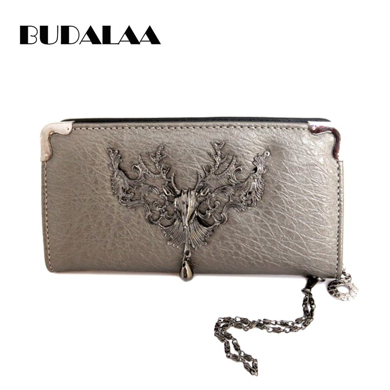 Budalaa PU Leather Men Wallet Long Coin Purse Female Clutch Vintage Multiple Cards Keys Holder Casual Wallets Handbag rock in rio limited edition cd