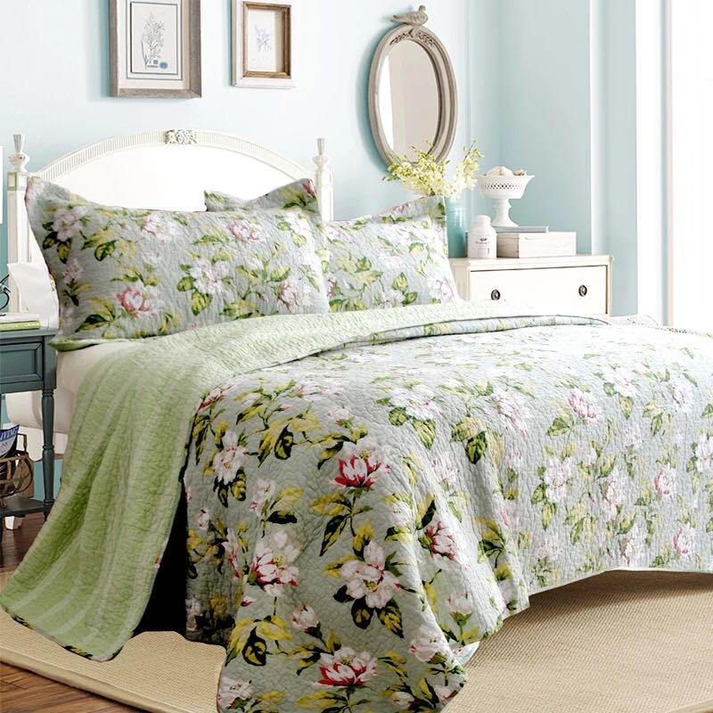 Φ Φgreen rose lily flower ③ cotton bedspread floral