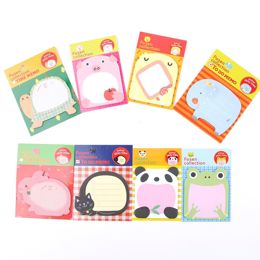 1 Piece New Korean DIY Kawaii Animal Zoo Sticky Notes Creative Post Notepad Filofax Memo Pads Office School Stationery