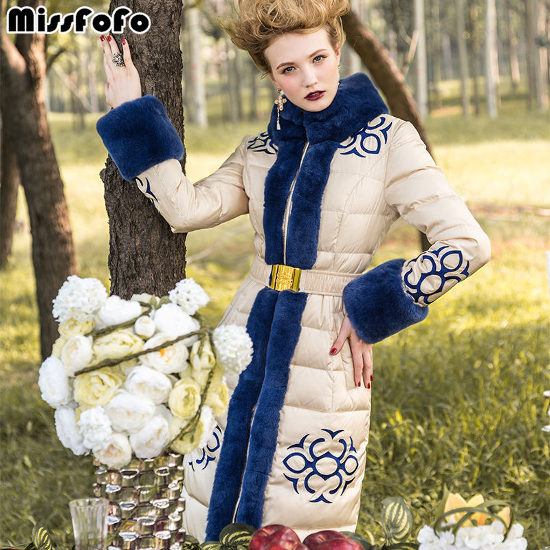 MissFoFo Women Brand Down Coat RoyalCat Jackets Luxury Real Rabbit Fur Hood Sleeve High Quality Female Long Embroidery Slim Down