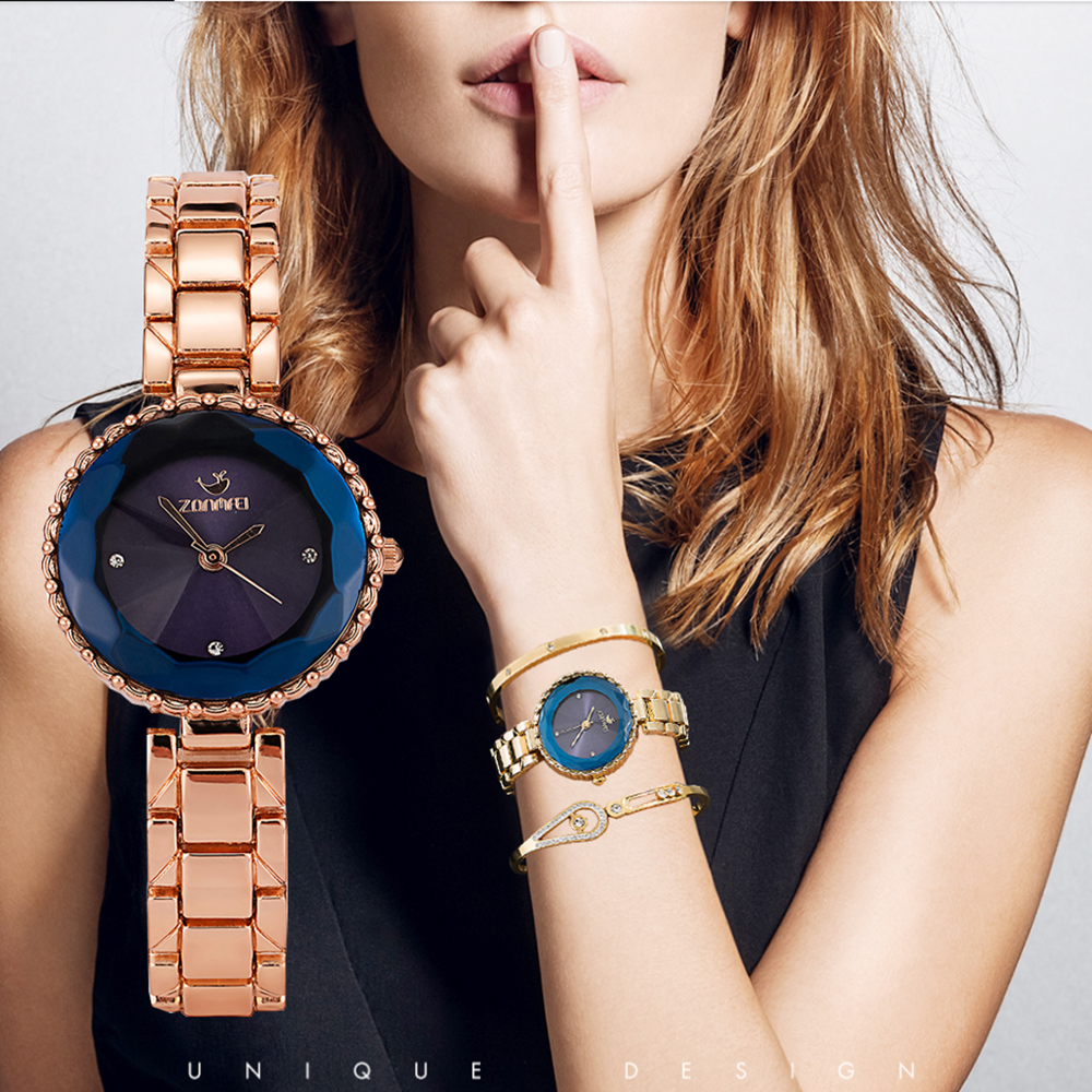 3PCS Ladies Blue Wristwatches ZONMFEI Brand Watches For Women High Quality Stainless Steel Bracelet Watches Set with Gift Box