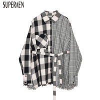 SuperAen Long sleeved 2019 Summer New Women Shirt Cotton Wild Fashion Casual Blouses and Tops Female Plaid Europe Women Clothing