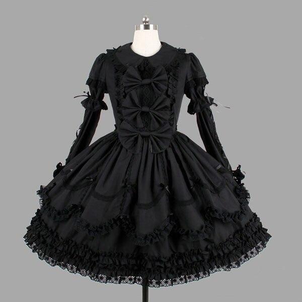 Robe lolita dentelle col claudine nœud papillon robe victorienne rétro palace robe gothique noire robe lolita douce lolita op loli