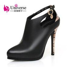 Universe Women Shoe Genuine Leather SEXY Pump Super High Heels Thin Heel C022