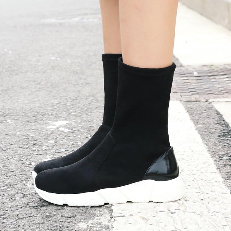Elástico Llegada De Nieve Cuero Rebaño Botas Plana Negro Caliente gris Comodidad {zorssar} Mujeres Zapatos Invierno Mujer Nueva 2018 wHq4EvS