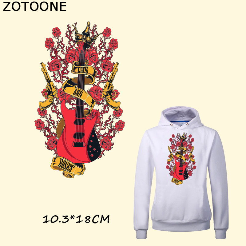 ZOTOONE Romantic GUNS AND ROSES Sticks Red Guitar T-shirt Dresses Sweater Thermal Transfer Patch for Clothing By Household Irons